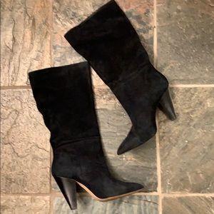 Something navy black suede high heel boots